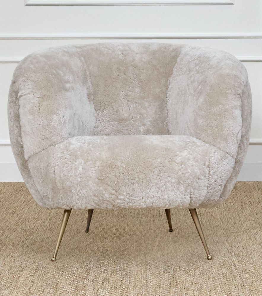 Kelly Wearstler Souffle Chair Shearling On Tapered Legs Of Solid Cast Br