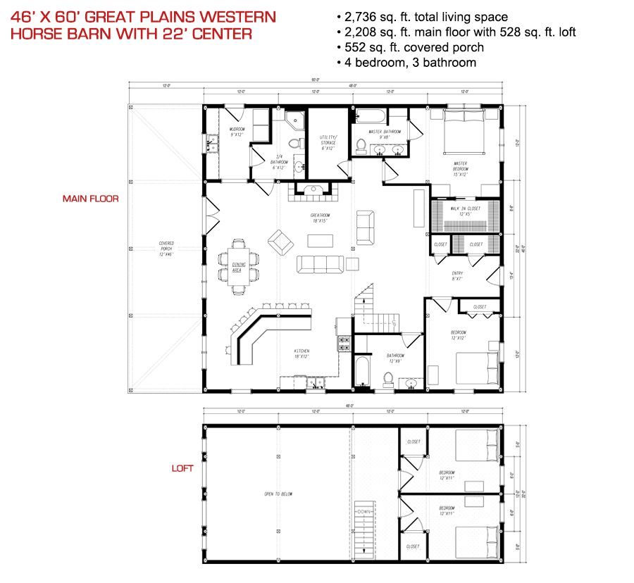 46x60 floor plan pre designed great plains western horse for Pre designed home plans