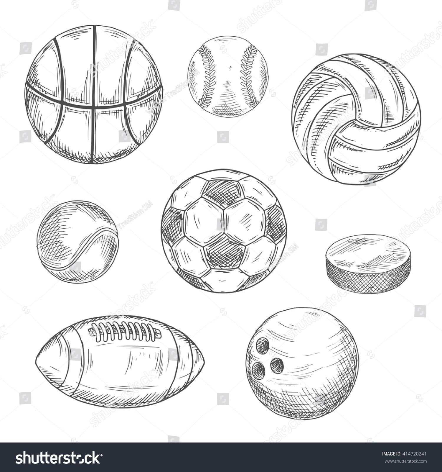 Sketched Balls For Soccer Or Football Baseball Basketball American Football Volleyball Tennis Bowling And Puck For Sketch Icon Creative Icon Hockey Puck