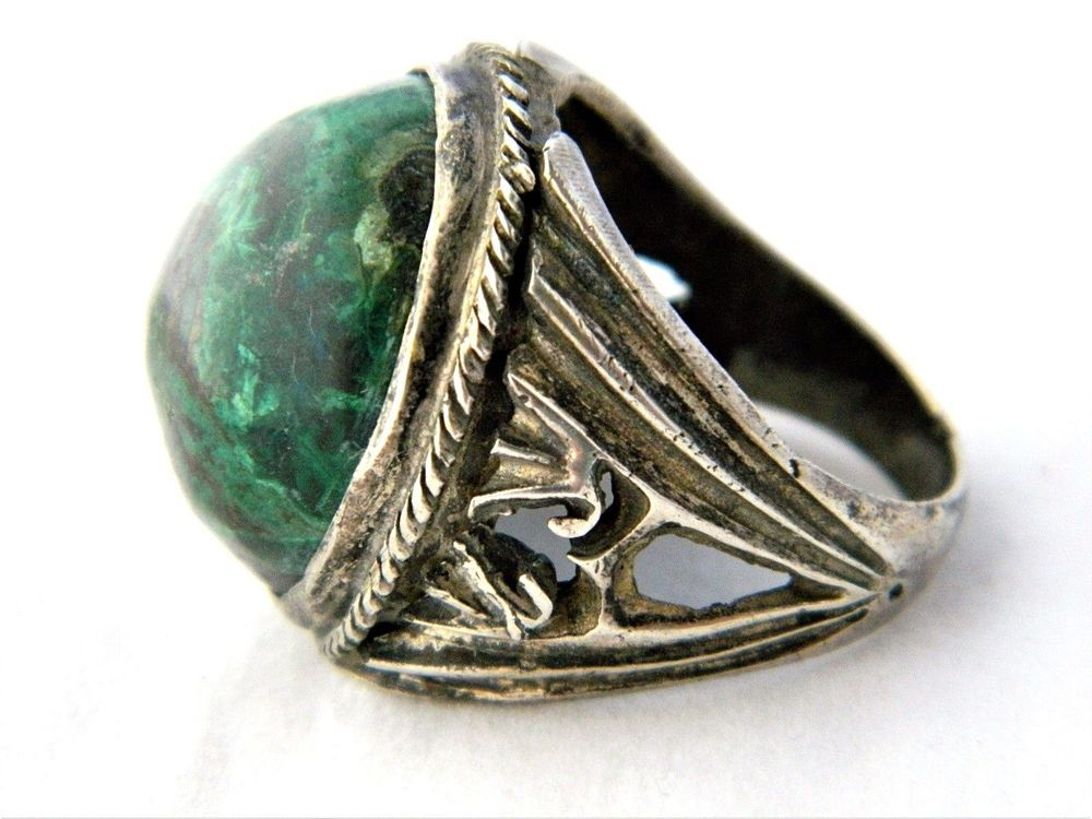 Vintage Men's Statement Signet Ring Marbled Green Stone Silver Tone Size 10.5 #Signet