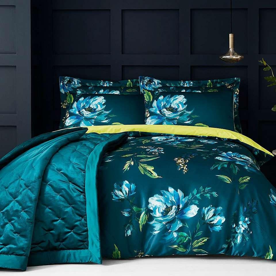 Dunelm Floral Teal Blue Charm Duvet Cover And Pillowcase Set