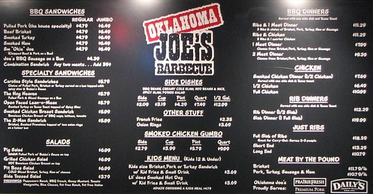 Olathe Oklahoma Joe S Barbecue Menu Kansas City Bars Bbq Menu Best Bbq