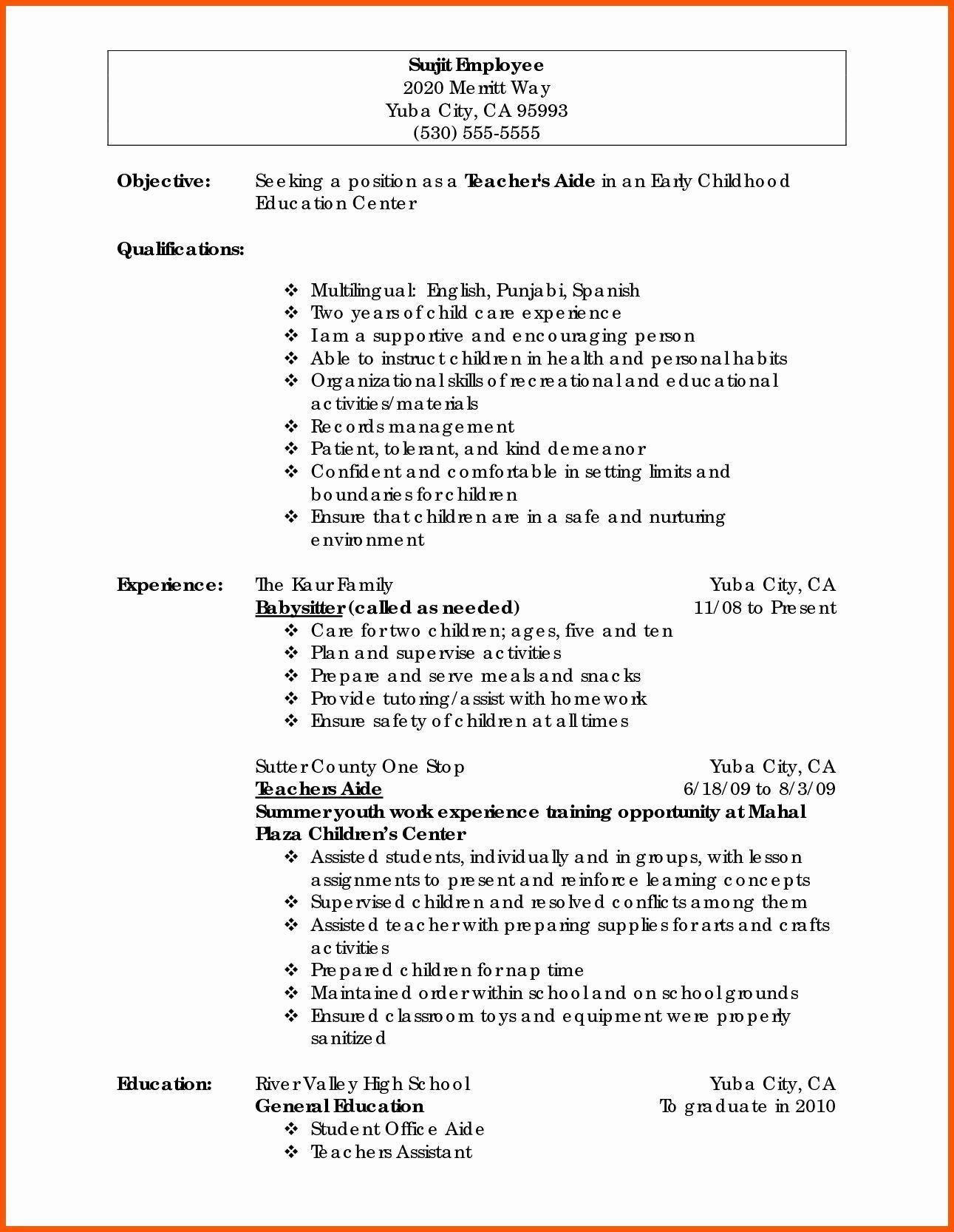Statement Of Work Sample Teacher Resume Examples Preschool