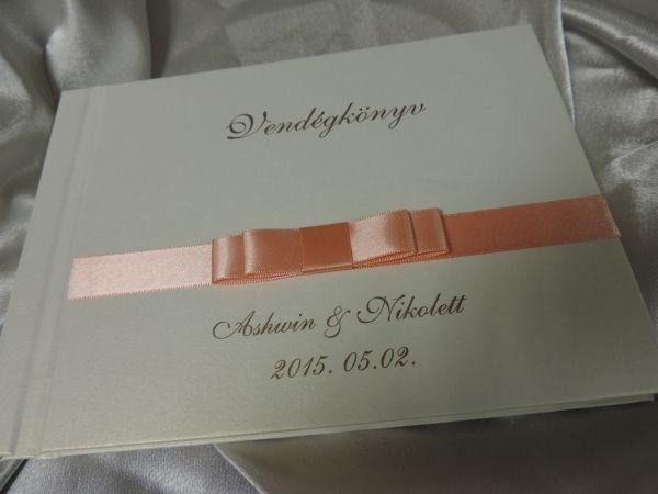 cb46ccdd91 00075 - Vendégkönyv dupla szatén masnival díszített - Papírral bevont esküvői  vendégkönyvek - Esküvői vendégkönyvek,