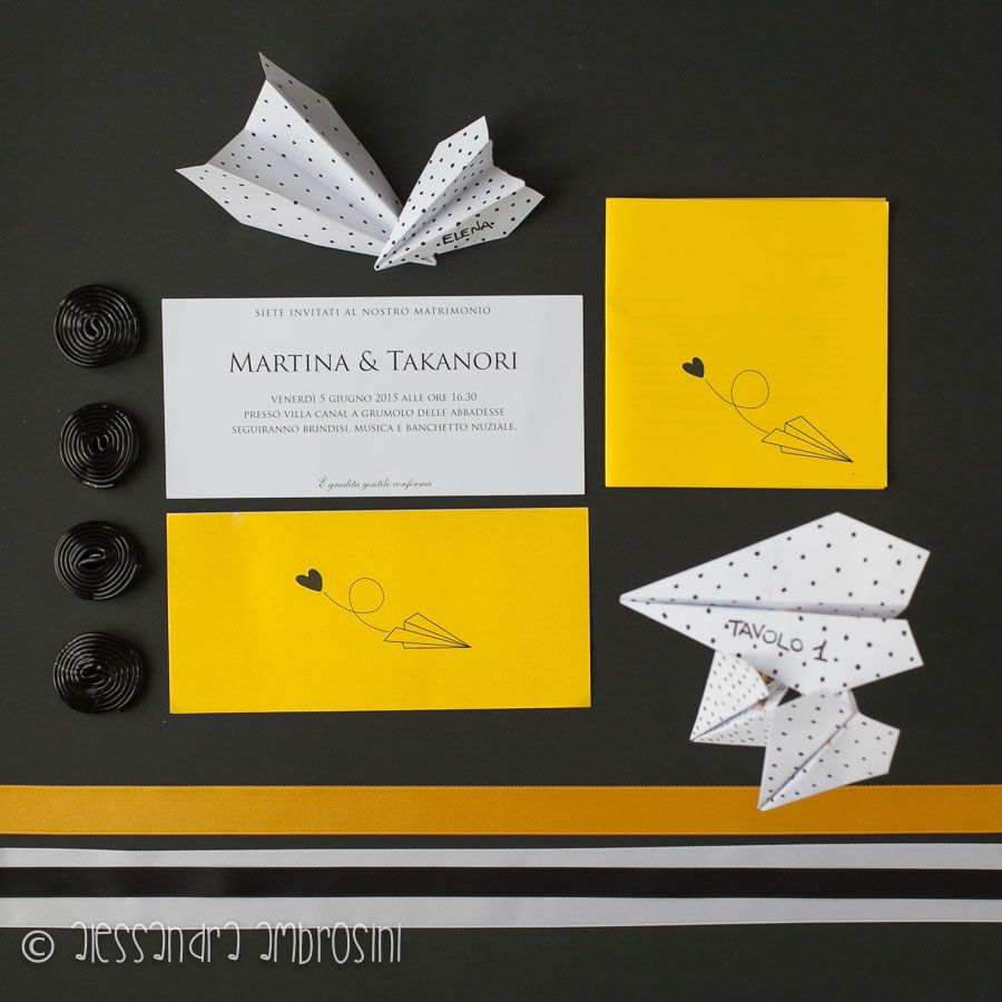 Wedding Invitation Black And Yellow Airplane Black Wedding Invitations Black Invitation Wedding Invitations
