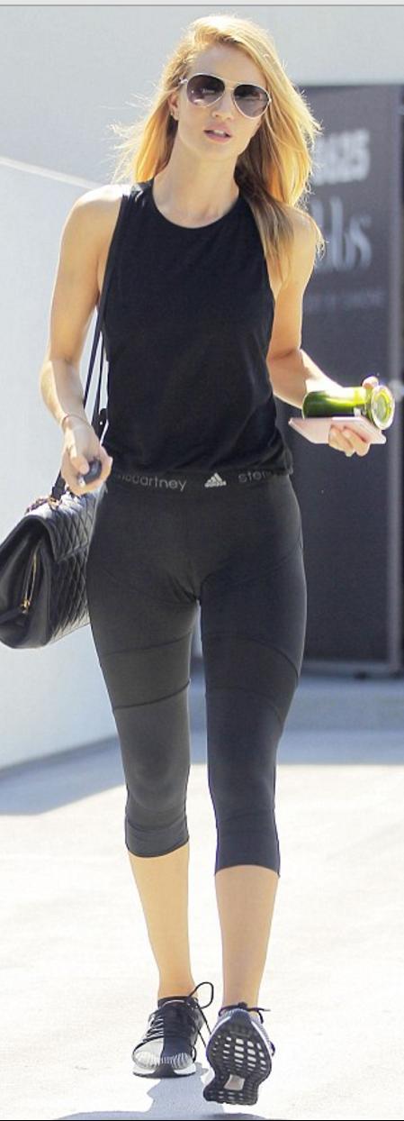 Rosie Huntington-whiteley wearing Burberry, Neil Lane and adidas by Stella McCartney