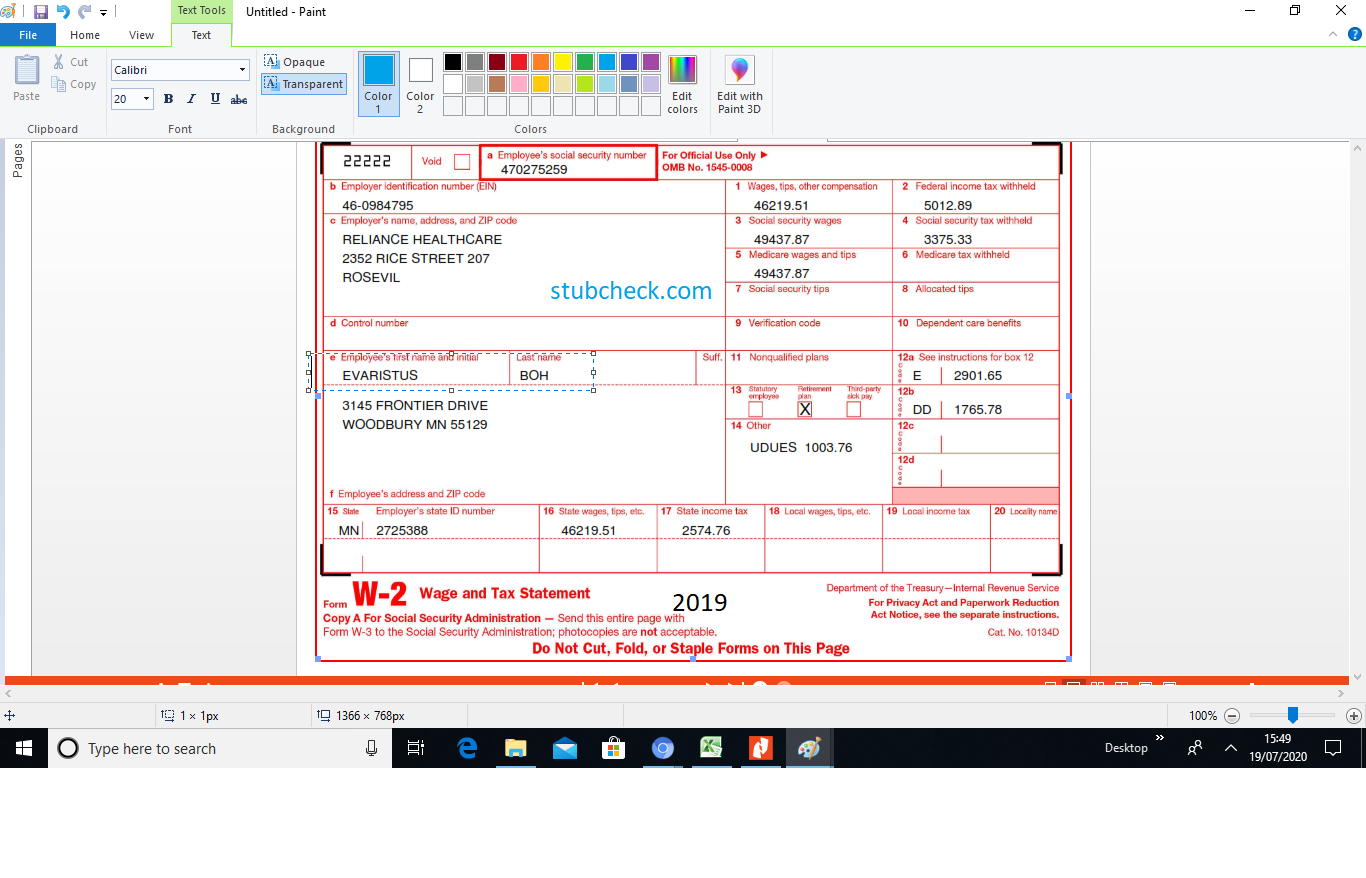 W2 Form 2019 W2 Forms Business Template Online Printing