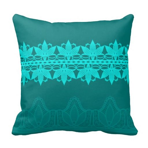 Vibrant Teal Lace Flowers Against Dark Teal Throw Pillows