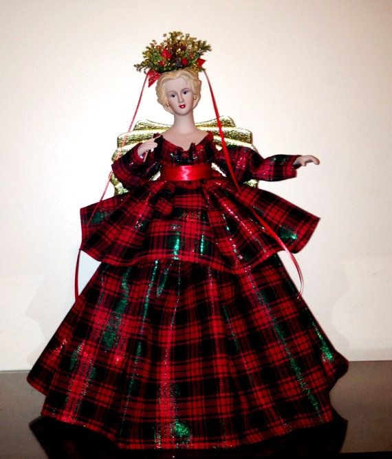 Small Angel Christmas Tree Topper: Tartan Christmas Angel Tree Top Holiday Red By