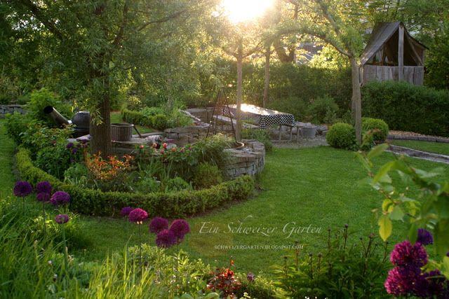 Ein Schweizer Garten Sitzplätze Schweizer Garten Pinterest - garten und landschaftsbau vorher nachher
