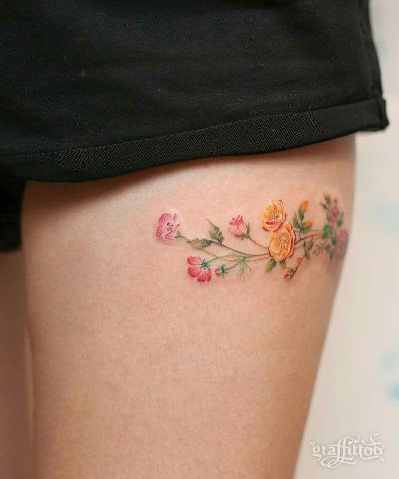 #river #tattoo #small #feminine #flowers #colourfull #fine #tigh