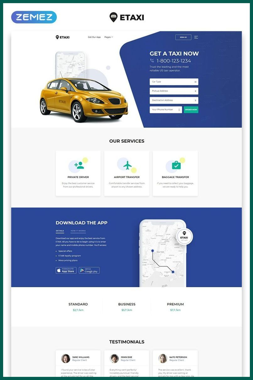 Best Responsive Websites 2019 Etaxi Taxi Service Multipage Classic Html Website Temp In 2020 Corporate Website Design Responsive Website Template Website Template