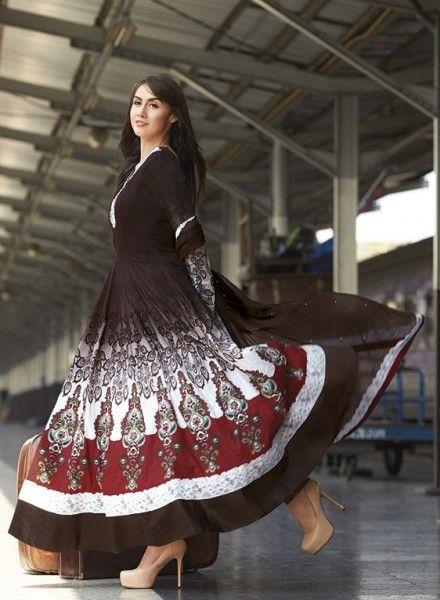 Brown Abaya Style Anarkali Shalwar Kameez GF6140484