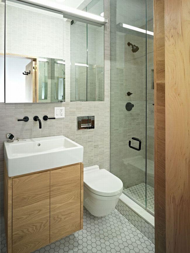 ma a azienka drewno w azience prysznic ze szklan