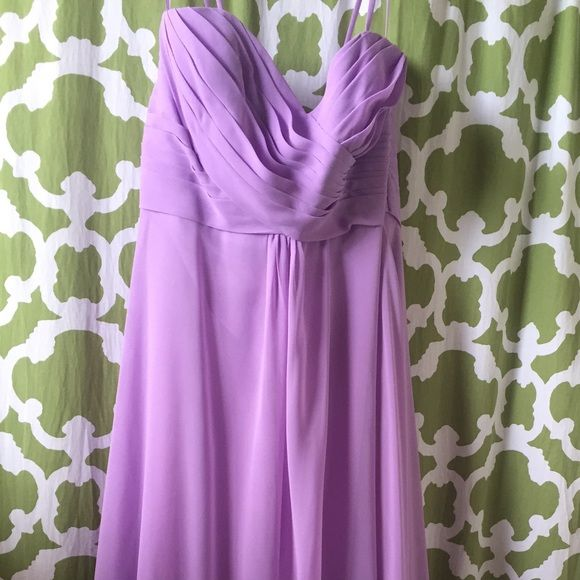 """Allure Bridals Bridesmaids chiffon dress Full length chiffon Mulberry Allure Bridal Bridesmaids dress labeled size 18. I'm 5'2"""", so altered to height. Bust also altered to size 16. There is a small stain on lower front. Straps are removable. Allure Bridals Bridesmaids Dresses"""