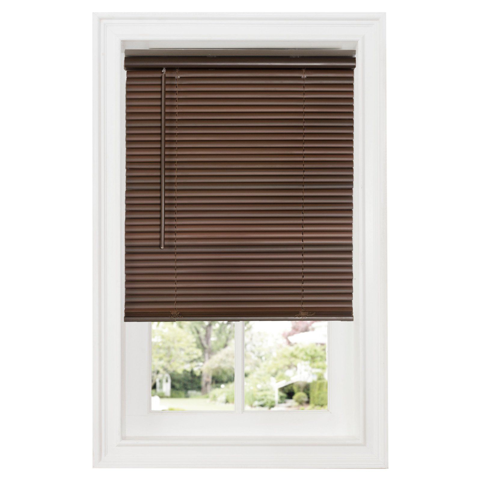 Achim 1 In Gii Deluxe Sundown Room Darkening Cordless Vinyl Mini Blinds Mahogany Blinds Mini Blinds Room Darkening