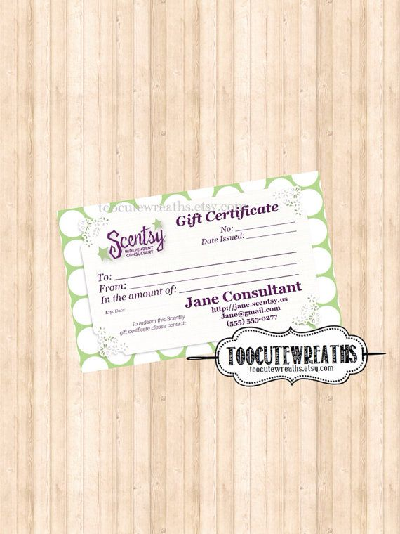 Digital download gift certificate business card size for Tupperware business card templates