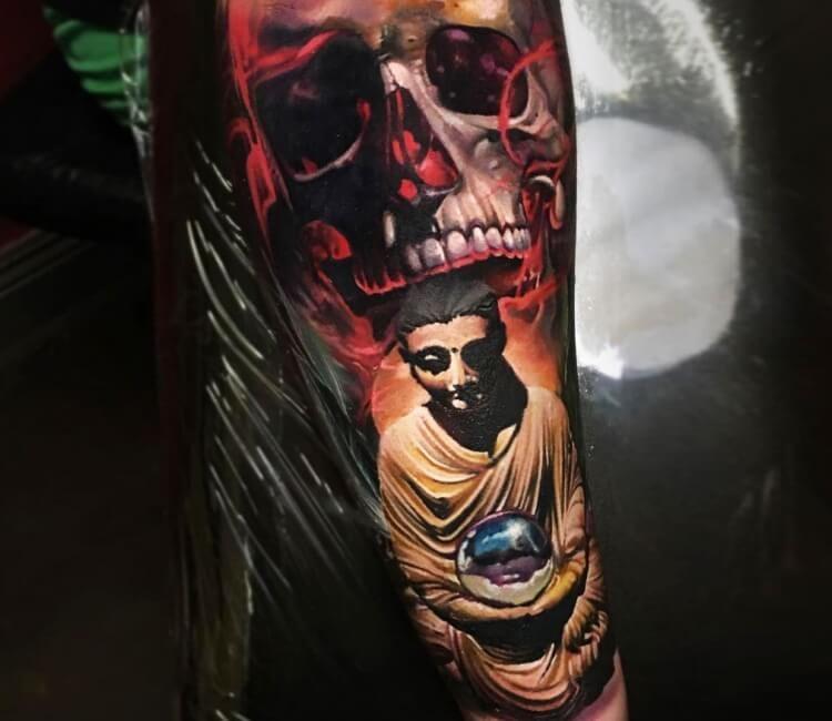 Skull And Buddha Tattoo By Sergey Shanko Tattoos Buddha Tattoo Tattoo Artists