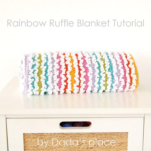 Free Rainbow Ruffle Blanket Pattern | lavoretti | Pinterest ...