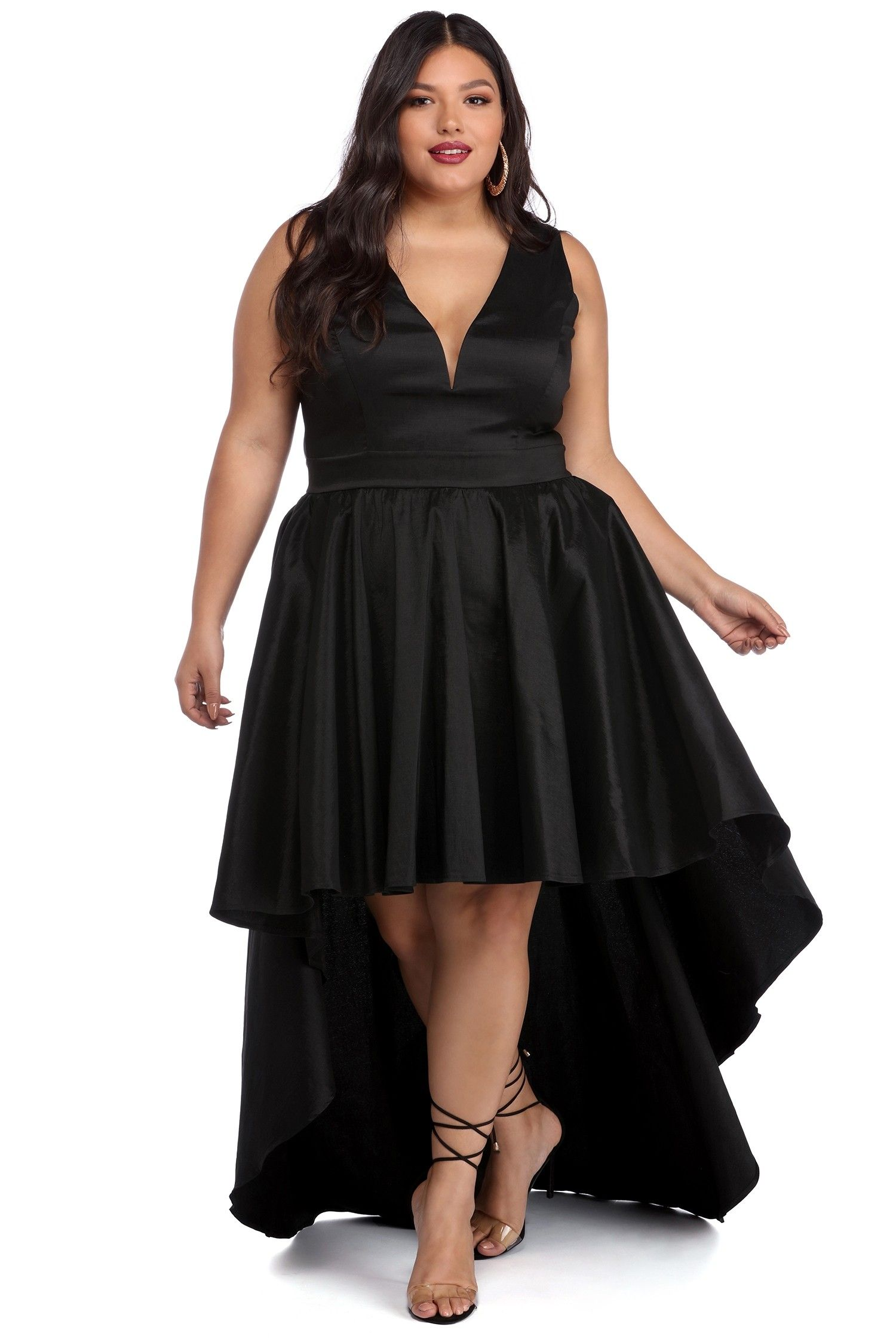 98591679de2 Plus Selena Black Taffeta High Low Dress in 2019
