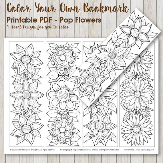 Printable PDF Bookmark Coloring with retro pop flower design, instant download bookmark adult coloring hippie flowers by SLS Lines #retropop
