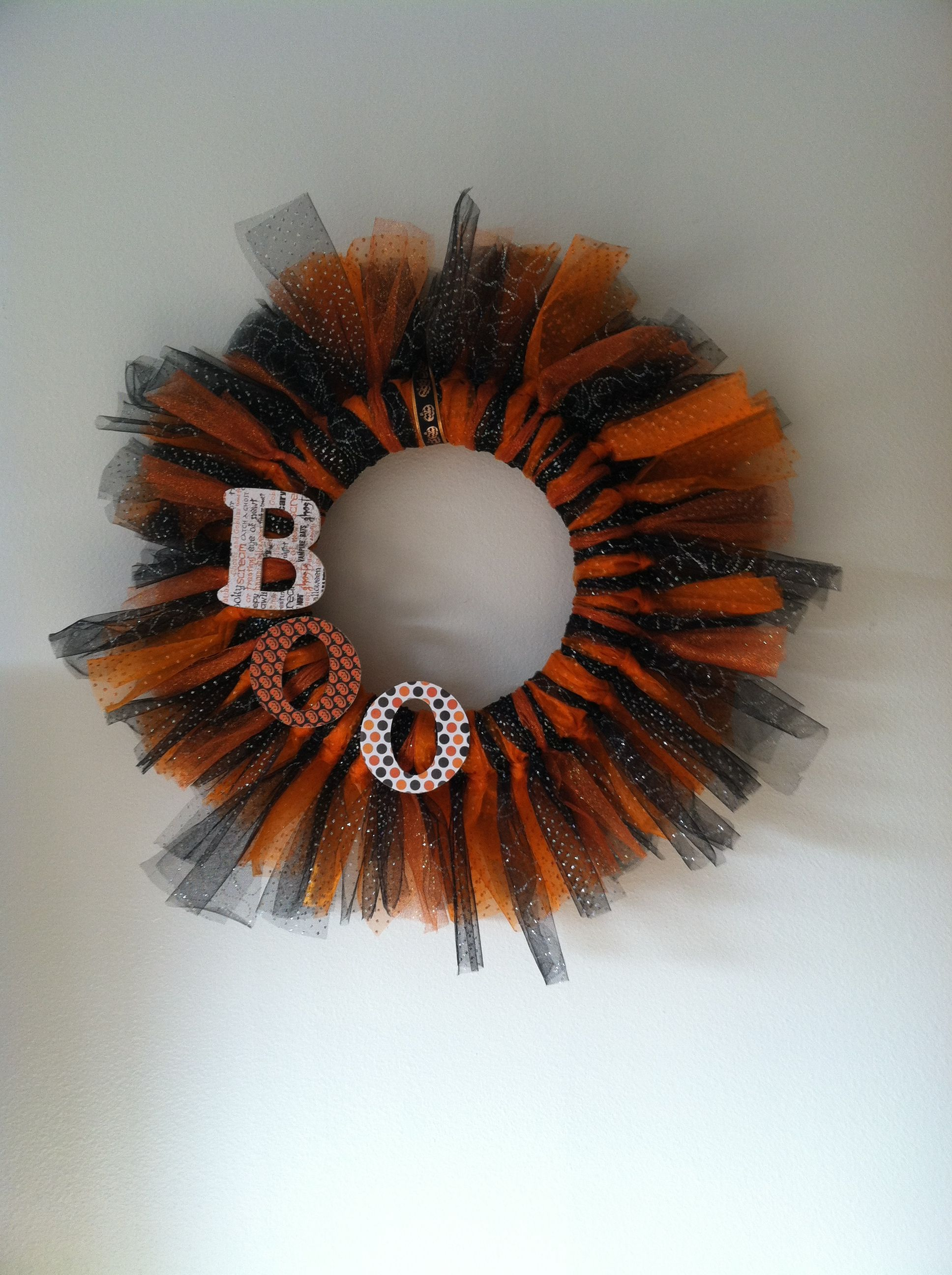 Halloween wreath made from tulle and a foam ring at hobby lobby - Hobby Lobby Halloween Decorations