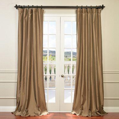 """Half Price Drapes Solid Taffeta Semi-Opaque Single Curtain Panel Size: 50"""" W x 96"""" L, Color: Gold Nugget"""