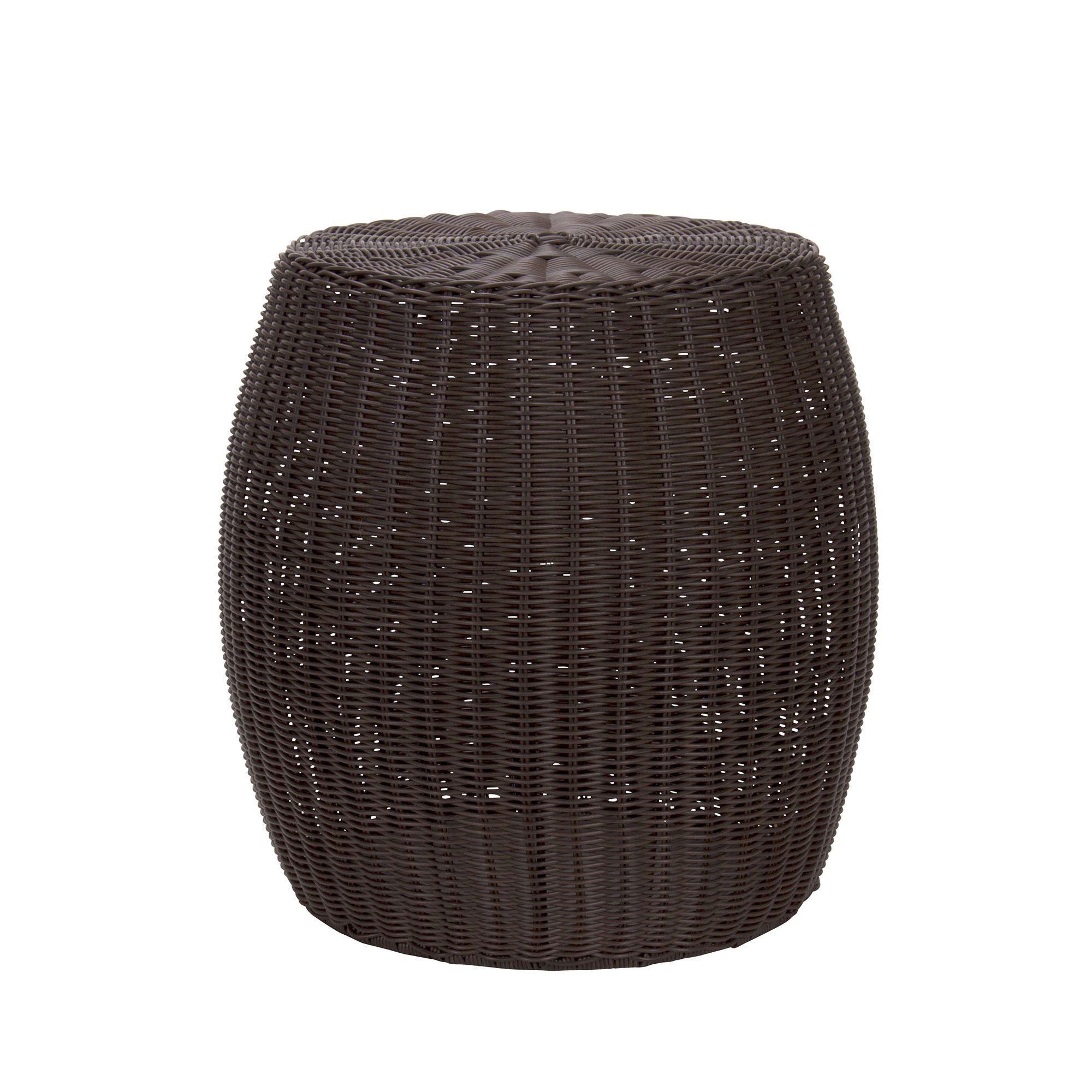 Household Essentials Resin Wicker Barrel Table,