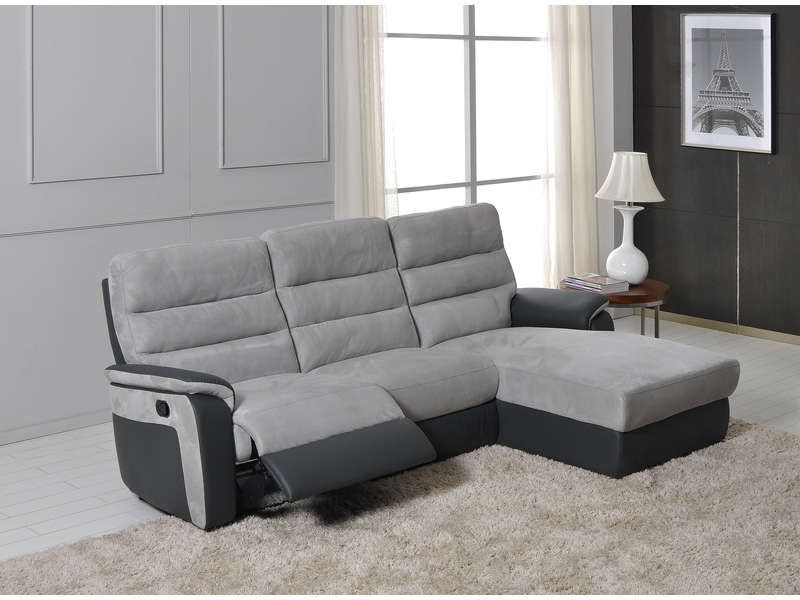 canap d 39 angle relax manuel 5 places mike coloris gris anthracite gris clair conforama. Black Bedroom Furniture Sets. Home Design Ideas