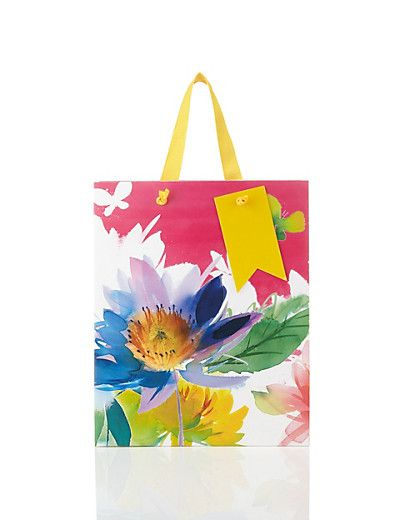 Medium Tropical Floral Gift Bag | M&S | Floral gifts ...
