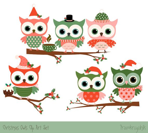 Christmas Owl Clipart Set Cute Christmas Clipart Cute Owl Etsy Christmas Owls Owls Drawing Owl Clip Art