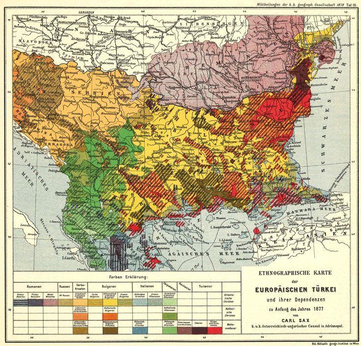1877 ethnic map of the Ottoman Balkans map balkans turkey