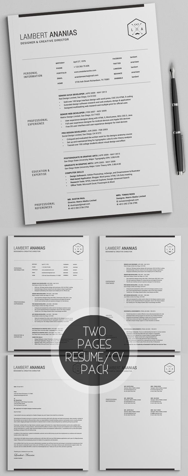 Two Pages Resume CV Pack | Resume | Pinterest | Currículum ...