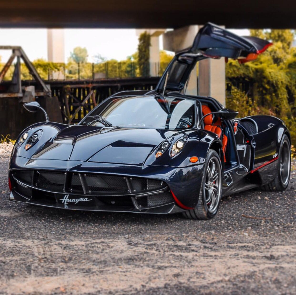 Pagani Huayra Painted In Dark Blue W Red Accents And Exposed