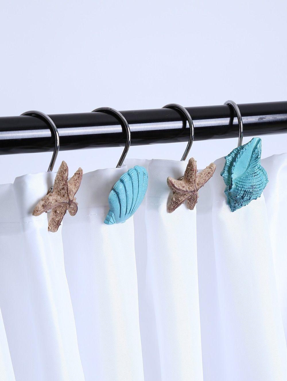 12 Pcs Seashell Shower Curtain Hooks Lake Blue Seashell Shower