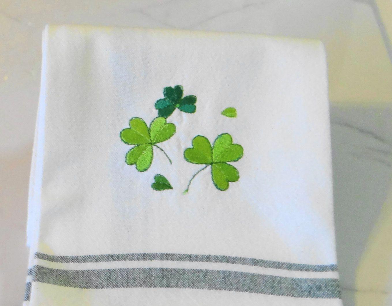 Dancing Shamrocks Dish Towel Irish Tea Towel Saint Patricks Day