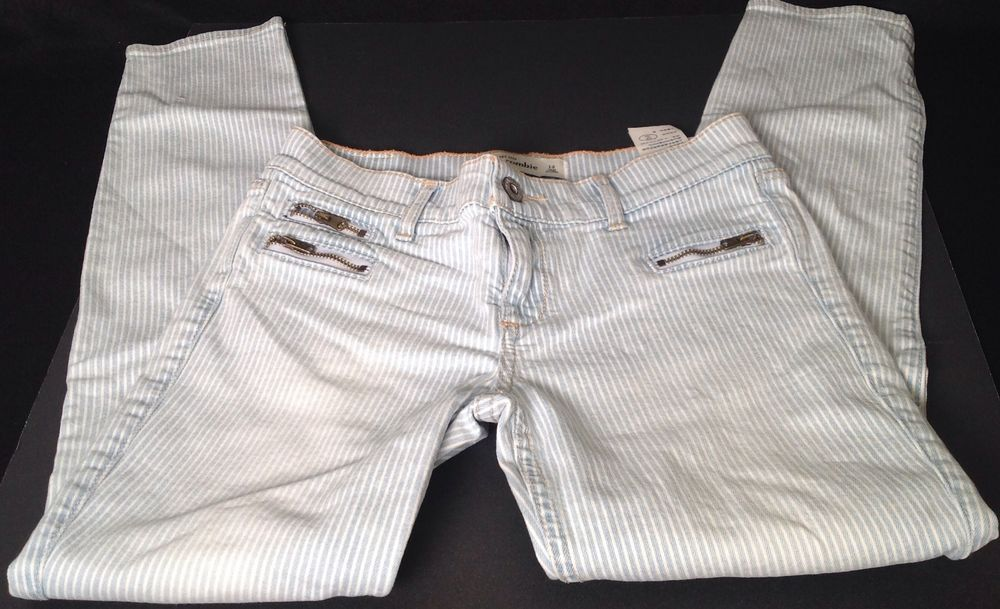Abercrombie Kids Blue White Striped Zippered Front Pocket Skinny Jeans 14  #AbercrombieKids
