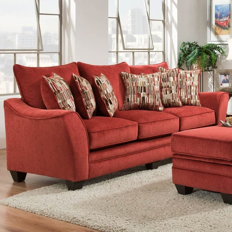 Julie Persimmon Chenille Sofa in 2019 | Sofa, Red sofa ...