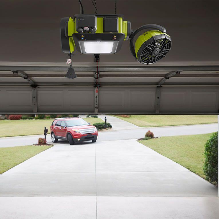 Ryobi Smart Garage Door Opener Has A Fan Laser Beams Co2 Sensor Speakers To Rock Out Smart Garage Door Opener Quiet Garage Door Opener Garage Door Makeover