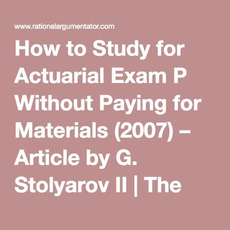 How to Study for Actuarial Exam P Without Paying for
