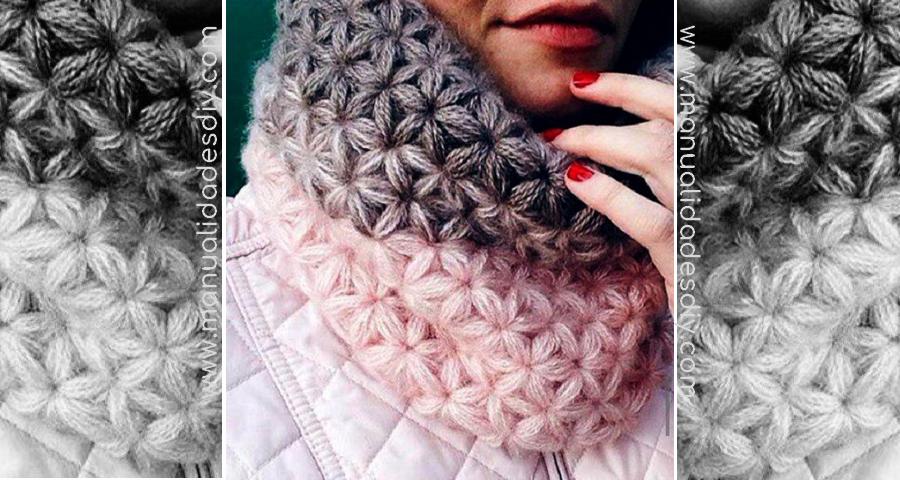 Cuello con punto estrella a crochet - diagrama y tutorial  6b9128f6438