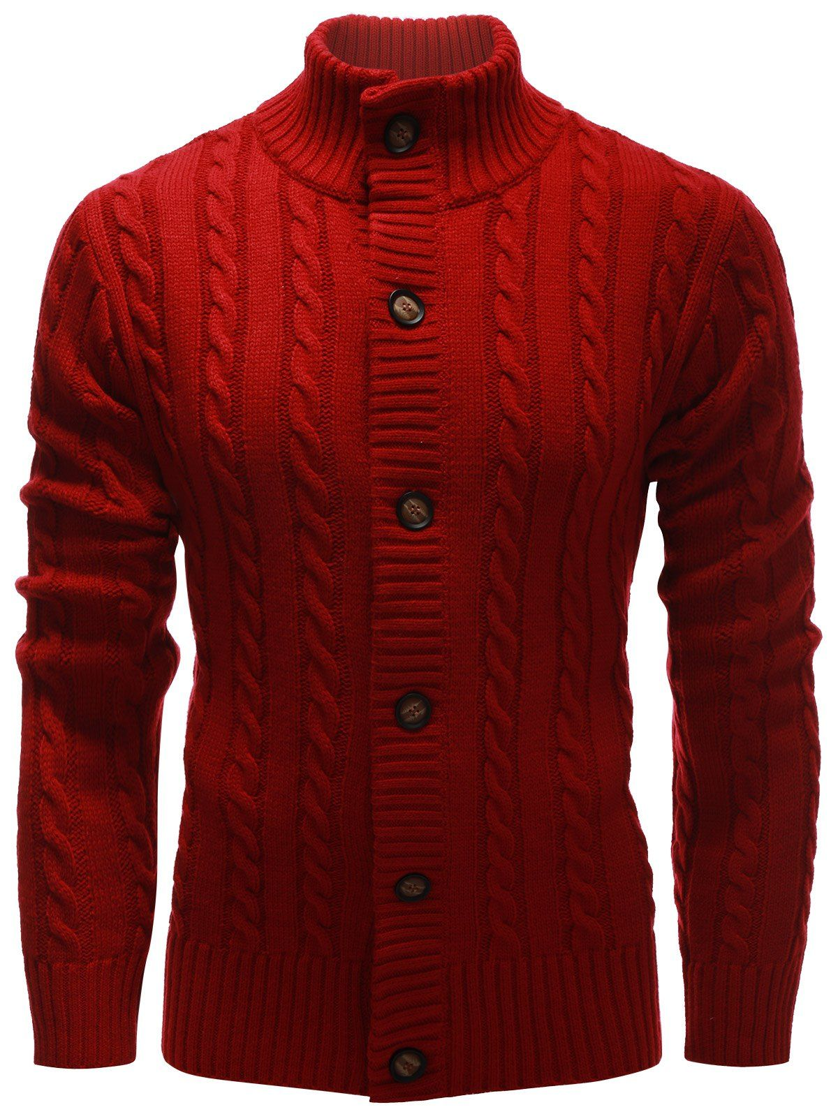 High Neck Button Up Twist Knit Cardigan | Male cardigan, Male ...