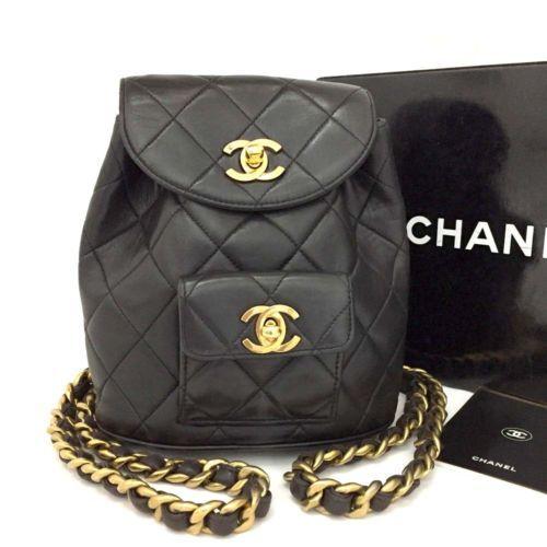 CHANEL Quilted Matelasse CC Logo Lambskin Chain Mini Backpack Black  n691 359c79e297fa1