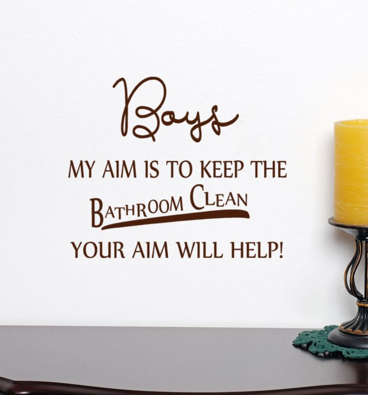 High Quality Boys Bathroom Vinyl Decal Words Your Aim Will Help, Cleaning Sign Sticker
