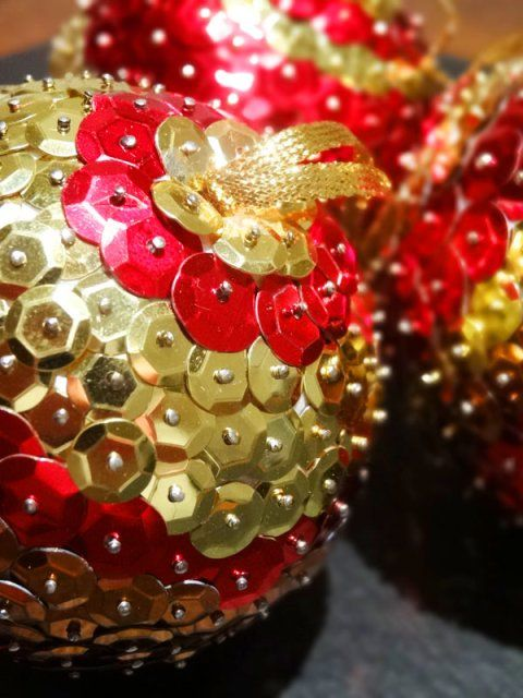 Homemade Sequin Baubles DIY Christmas Hanging Decorations
