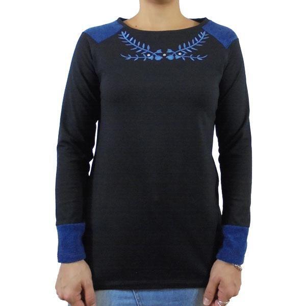 Camiseta algodon negra bordado azul
