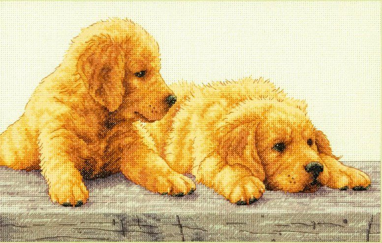 Cross Stitch Kit Golden Retriever Puppies From Dimensions With