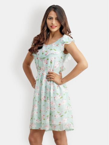 1dcc714c4cc1 Belle Fille Light Green Printed Fit   Flare Dress
