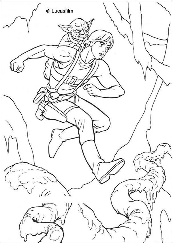 luke training with yoda coloring page star wars