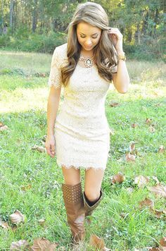 Lace Prom Dress with Cowboy Boots